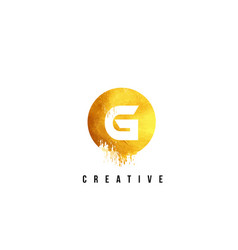 g gold letter logo design with round circular vector image