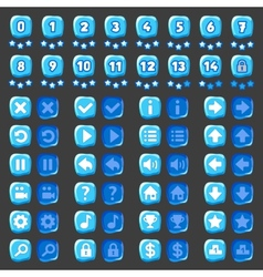 Game menu icons ice buttons vector image