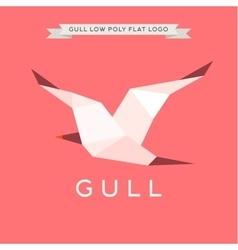Gull low poly polygon logo geometry vector image
