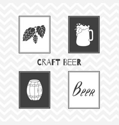 Hand drawn silhouettes brewery posters vector