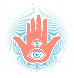 Hand two eyes color vector