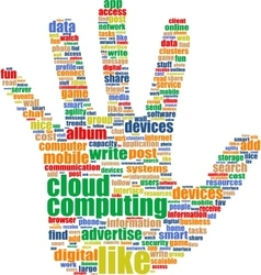 Hands which is composed of text keywords on vector