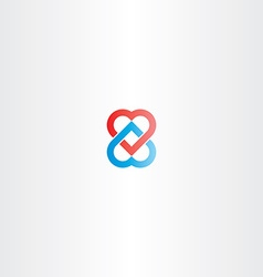Heart chain logo icon vector