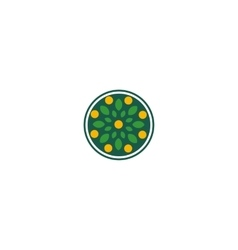 Isolated abstract round shape green color logo vector image