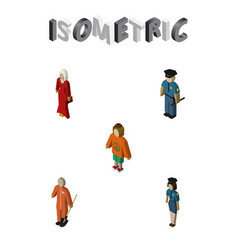 Isometric people set of female policewoman vector