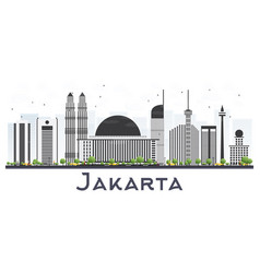 Jakarta indonesia city skyline with gray vector