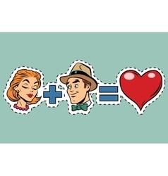Man plus woman equal love vector image