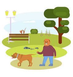 man walking with dog vector image vector image