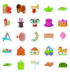 Park icons set cartoon style vector