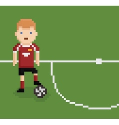 Pixel art style football soccer player on green vector