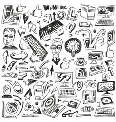 Programming computers - doodles vector