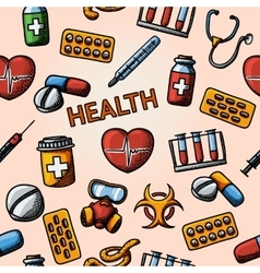 Seamless health handdrawn pattern with - vector