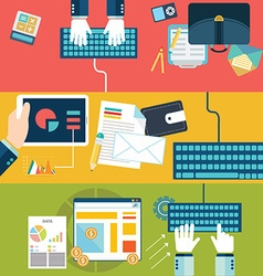 Set of flat design concepts for website layout vector image vector image