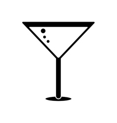 Silhouette glass cocktail martini with olive vector