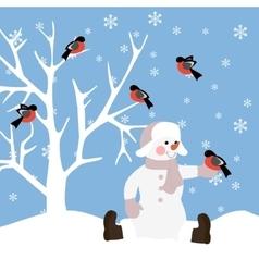 Snowman with bird vector