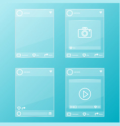 Social network post glass frames set vector