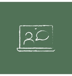 Video chat online icon drawn in chalk vector