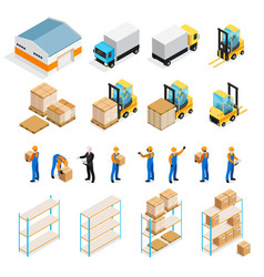 warehouse isometric set vector image vector image