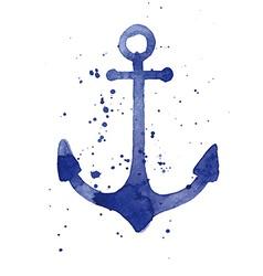 Watercolor of an anchor vector