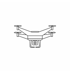Quadcopter drone with camera icon outline style vector image