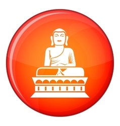 Buddha statue icon flat style vector