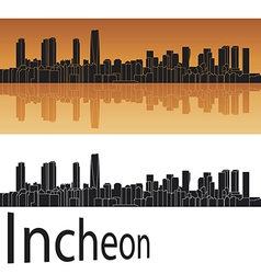 Incheon skyline in orange background vector image