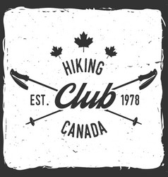 Hiking club badge with trekking poles vector