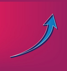 Growing arrow sign  blue 3d printed icon vector