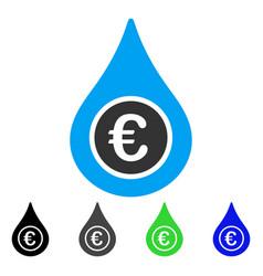 Euro liquid drop flat icon vector