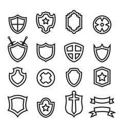 Outline shield icon set vector