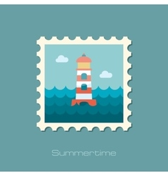 Lighthouse flat stamp vector