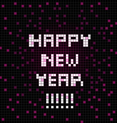 Pixel happy new year vector