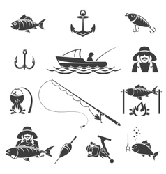 Fishing black icons set vector