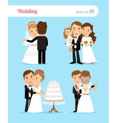Bride and groom characters vector