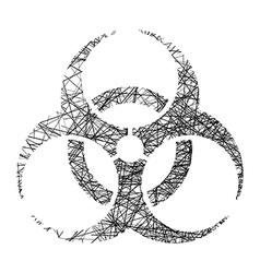 Biohazard sign made of black lines vector