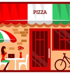 Pizza restaurant with terrace in front vector
