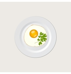 Scrambled eggs on white plate vector