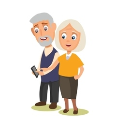 Grandmother and grandfather holding phone vector
