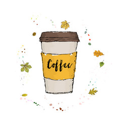 A fragrant morning coffee in a large paper glass vector