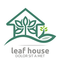 Abstract logo real estate leaf house design icon vector