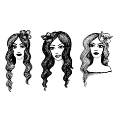 Beautiful girls with flowers in hair vector image vector image