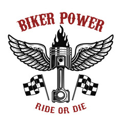 Biker powerpiston with wings on light background vector