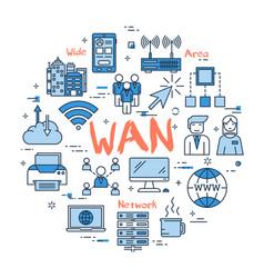 Blue round wan concept vector