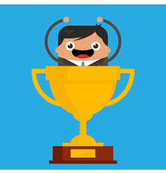 Business Man in Giant Trophy vector image vector image