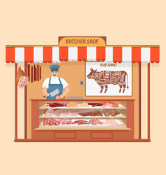Butcher shop meat man seller store shelves with vector