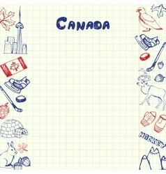Canada symbols pen drawn doodles collection vector