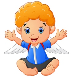 Cartoon baby wearing wing vector
