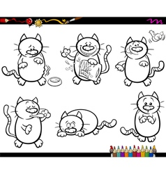 Cats set coloring book vector