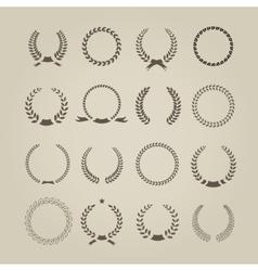 Collection of sixteen circular vintage laurel vector image vector image