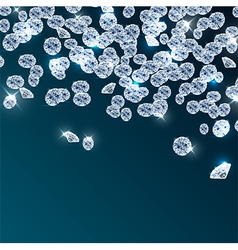 Diamonds falling on blue background vector image
